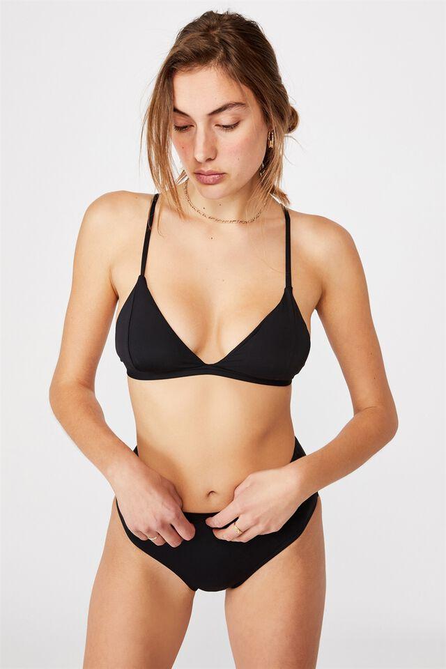 Fixed Triangle Bikini Top, BLACK