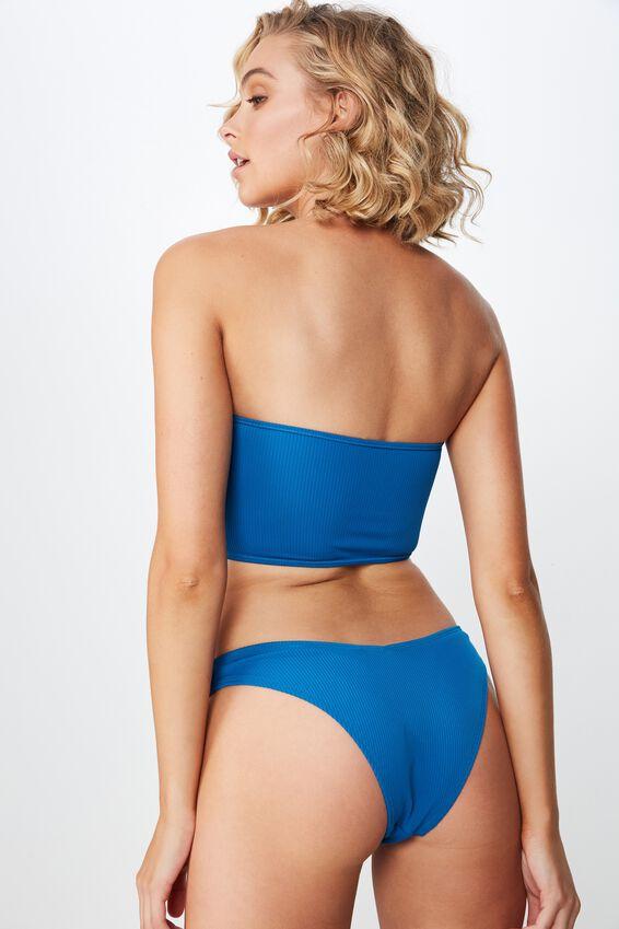 Sara Rib V High Side Cut Cheeky Bikini Bottom, SEAPORT