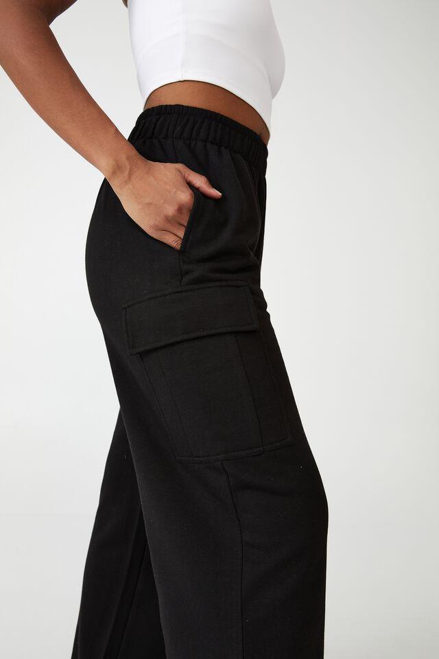 Lifestyle Cargo Wide Leg Track Pant, BLACK