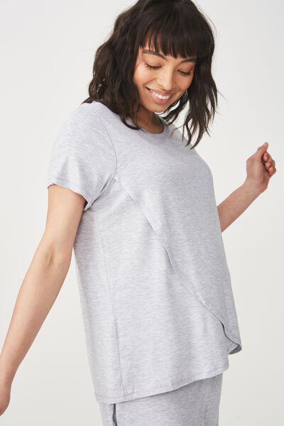 Sleep Recovery Maternity T Shirt, GREY MARLE