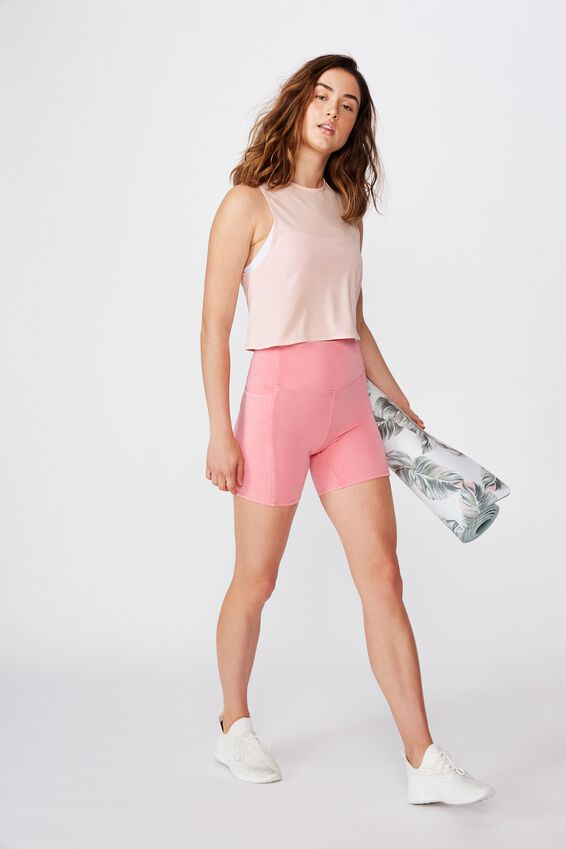 Lifestyle Tie Up Muscle Tank, PINK SHERBET MARLE