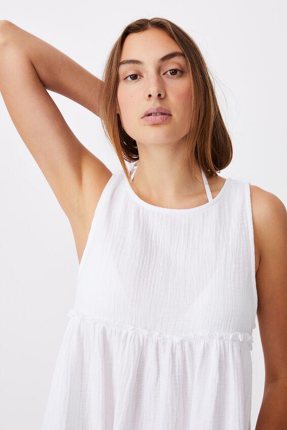 Drop Armhole Beach Dress, WHITE