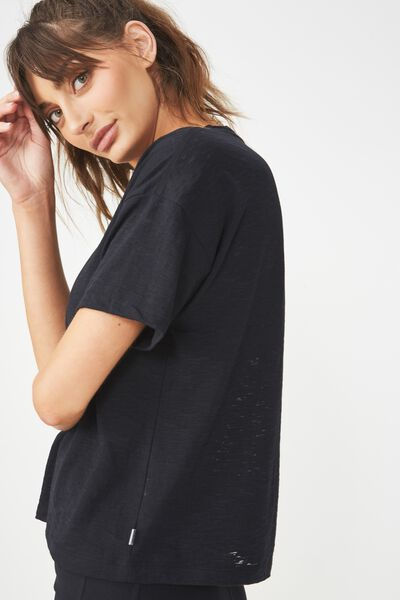 Boxy Burnout T Shirt, BLACK