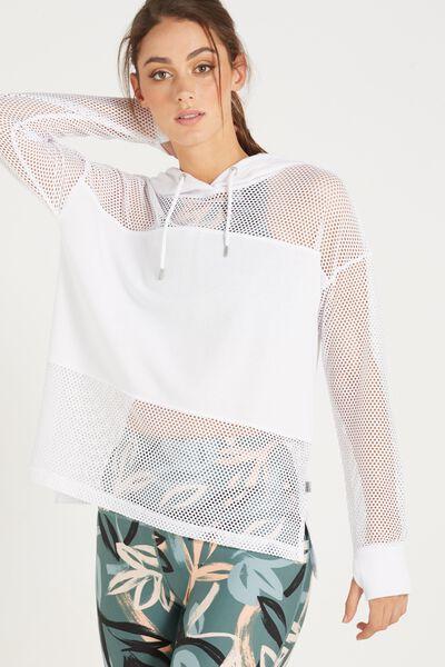 Spliced Fleece Long Sleeve Top, WHITE