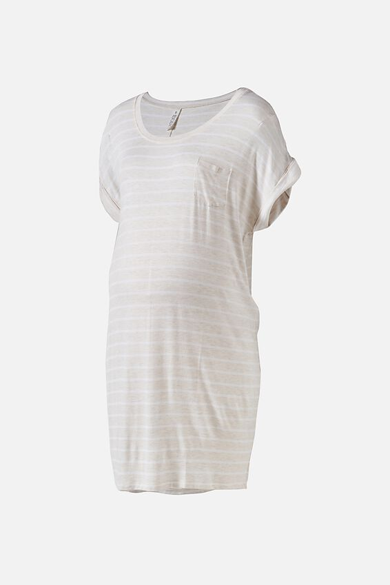 Sleep Recovery Maternity Nightie, PORRIDGE STRIPE