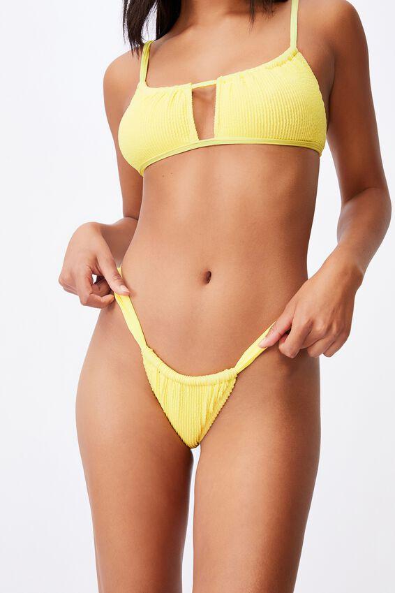 Gathered Strap Brazilian Bikini Bottom Crinkle, PASTEL LEMON CRINKLE