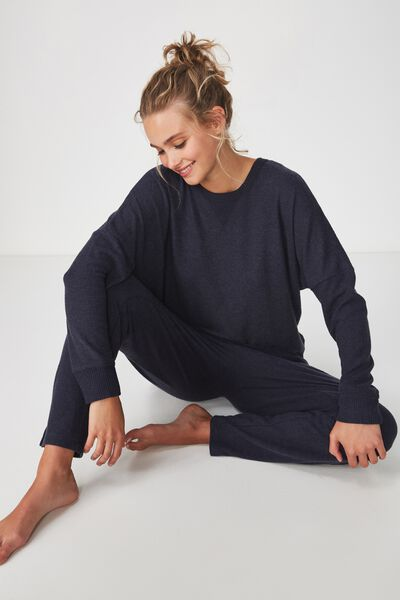 Super Soft Relaxed Lounge Crew, NAVY BABY MARLE