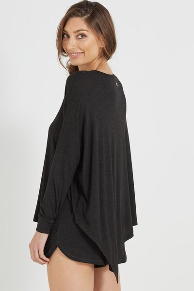 Sleep Recovery Asymmetrical Long Sleeve Top, BLACK MARLE