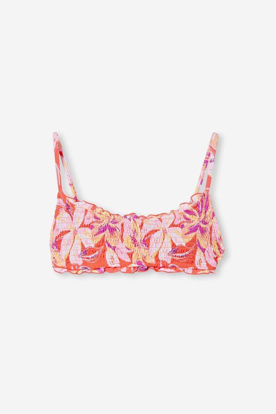 Backless Ruffle Bikini Top, HOT CORAL TROPICAL SHIRRED
