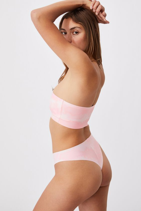 Everyday Bonded Bandeau, LINEAR TIE DYE PRETTY PINK