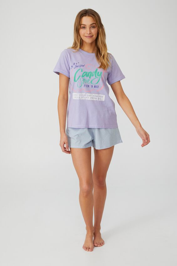 Ringer Sleep T-Shirt, CANDY STORE/WASHED LAVENDER