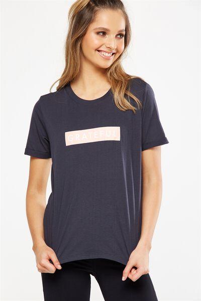 Slogan T Shirt, SHADOW/GRATEFUL