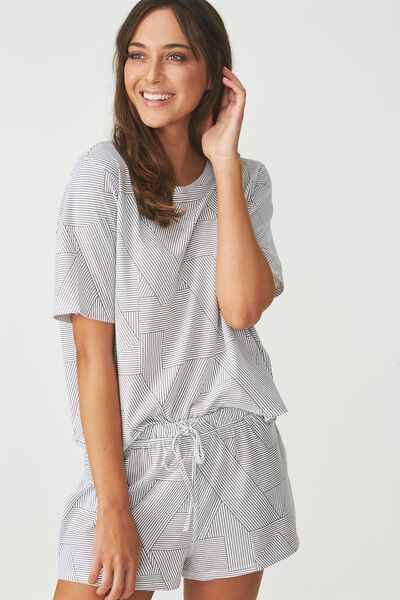 Boxy T-Shirt, SPLICEY STRIPE WHITE