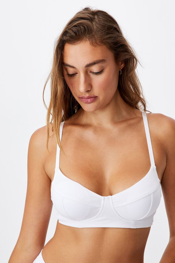 Organic Cotton Bralette With Cups, WHITE