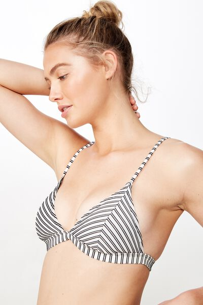 Fixed Triangle Bikini Top, BLACK AND WHITE RIB