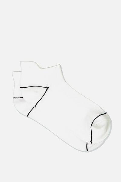 Fresh Mesh Ankle Tab Sock, WHITE/BLACK LINE