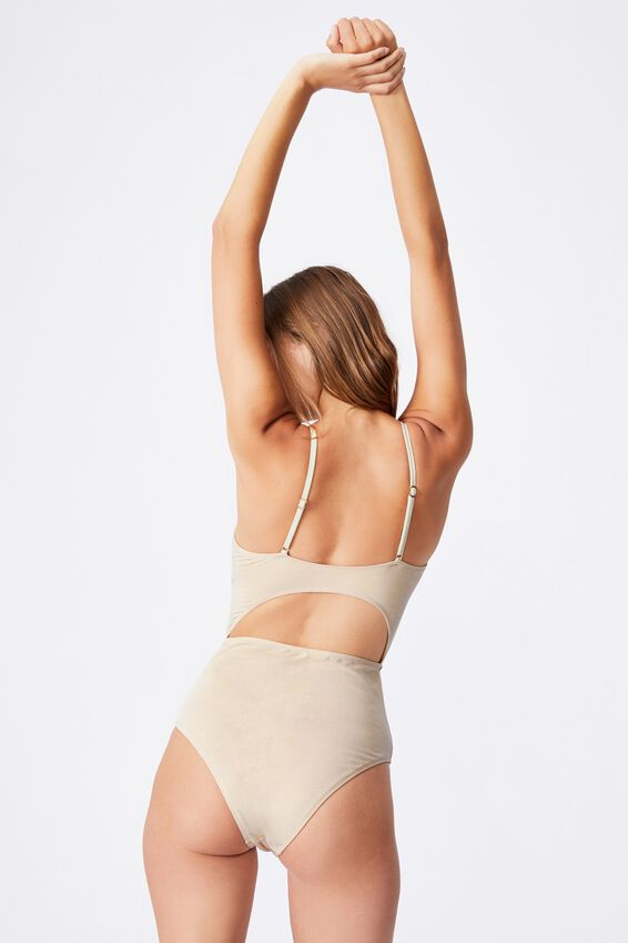 Knot Front Cut Out One Piece Brazilian, GOLD SHIMMER