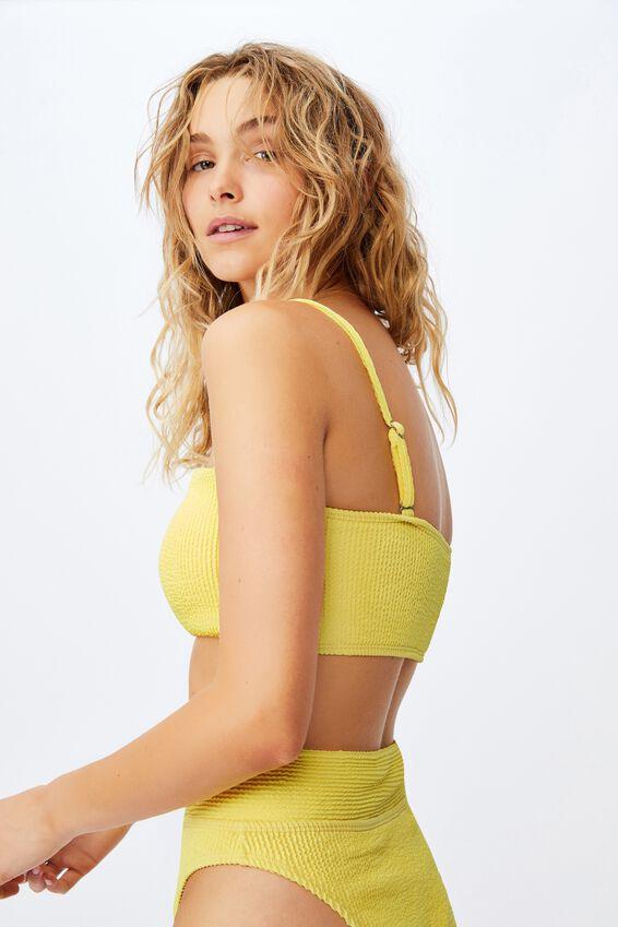 Midi Bandeau Bikini Top Crinkle, PASTEL LEMON CRINKLE