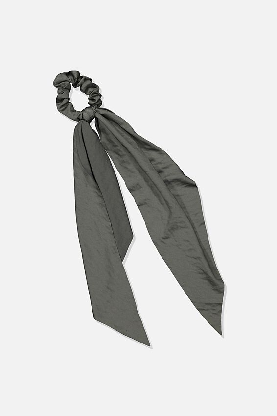 Beth Long Scarf Scrunchie, COOL AVOCADO HAMMERED SATIN