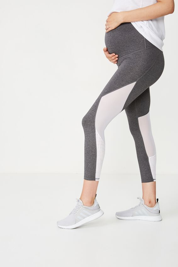 Maternity Movement Mesh Panelled 7/8 Tight, CONCRETE MARLE/WHITE