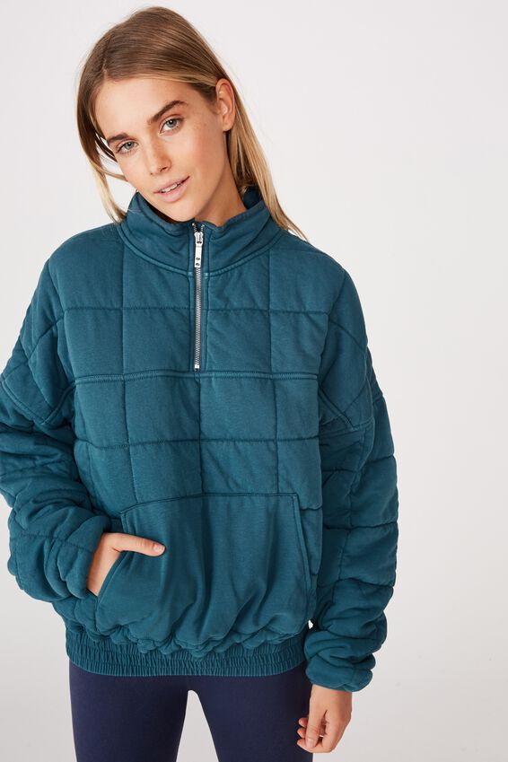 Quilted Zip Through Fleece, COASTAL BLUE