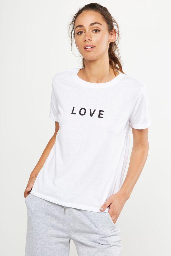f1a9d57bbef Slogan T Shirt, WHITE/LOVE