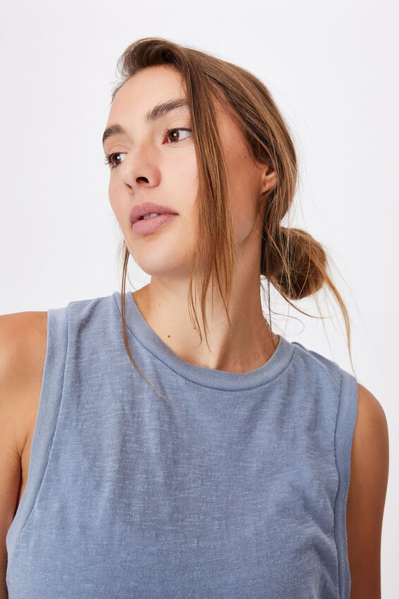 All Things Fabulous Cropped Muscle Tank, BLUE JAY WASH