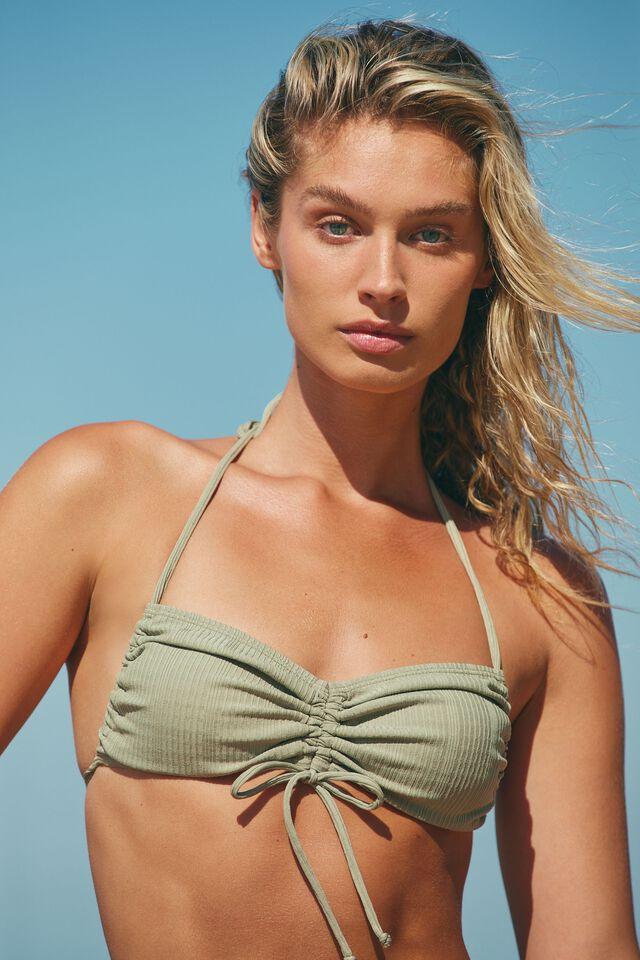 Gathered Backless Halter Bikini Top, TOASTED PISTACHIO POINTELLE