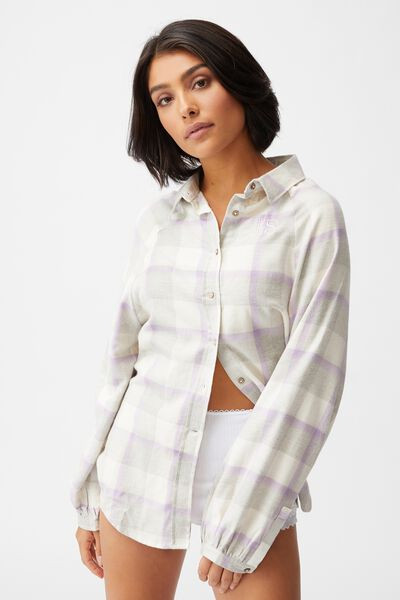 Warm Flannel Sleep Shirt Personalisation, FIELD CHECK ORCHID