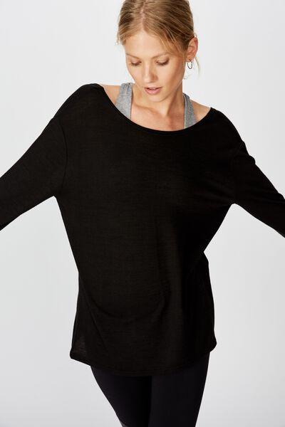 Back Twist Long Sleeve Top, BLACK