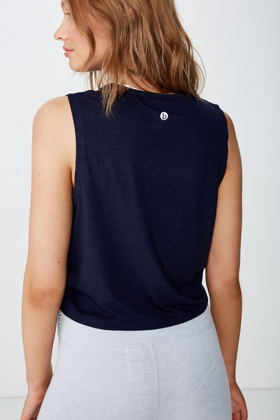 Cropped Active Muscle Tank, NAVY