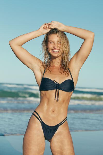 Gathered Backless Halter Bikini Top, MIDNIGHT SHIMMER