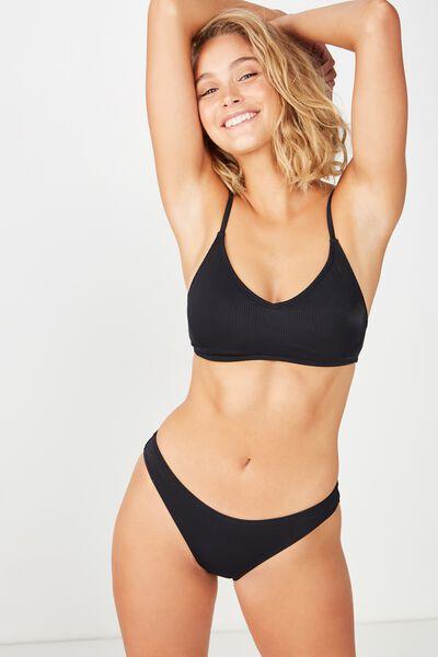 Carly Rib Full Bikini Bottom, BLACK