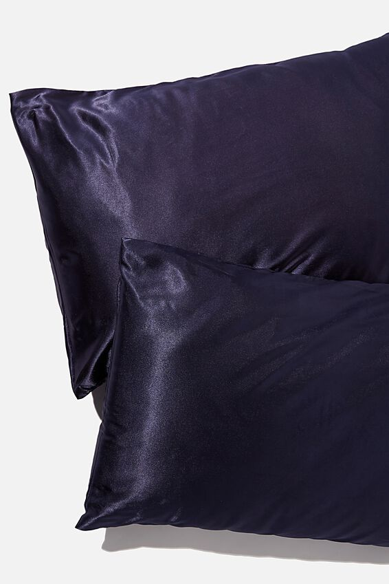 Satin Pillow Slip Duo, TRUE NAVY