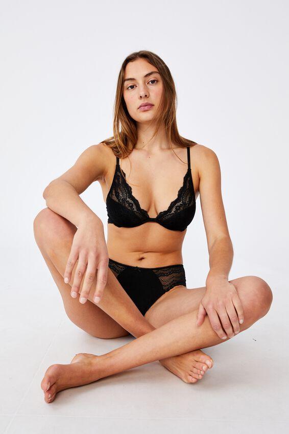 Zoe Plunge Contour Bra, BLACK
