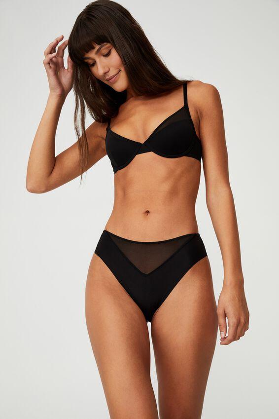 Everyday Mesh High Cut Bikini Brief, BLACK