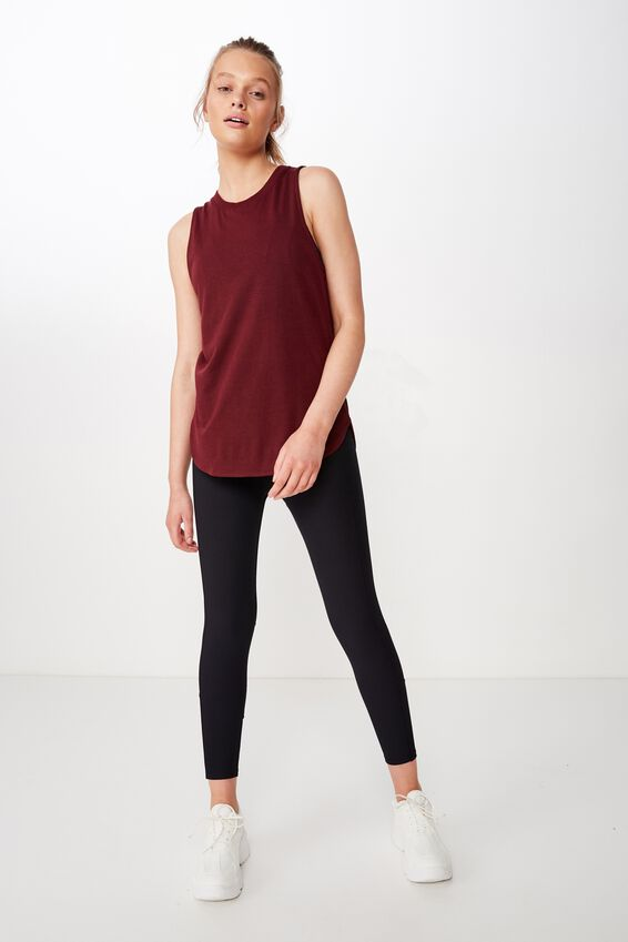 Active Curve Hem Tank, RUBY WINE
