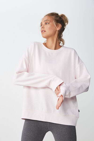 Long Sleeve Fleece Crew Top, PINK SHERBET