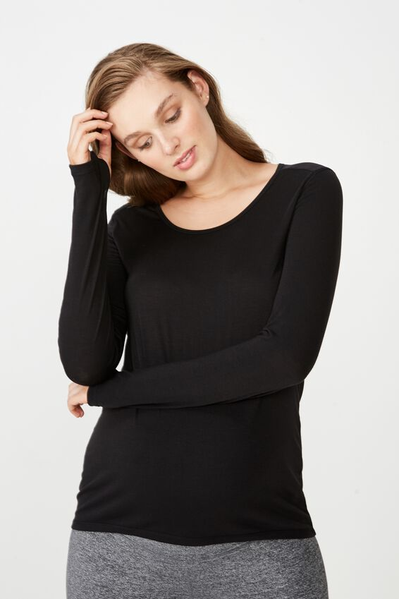 Maternity Long Sleeve Sports Top, BLACK