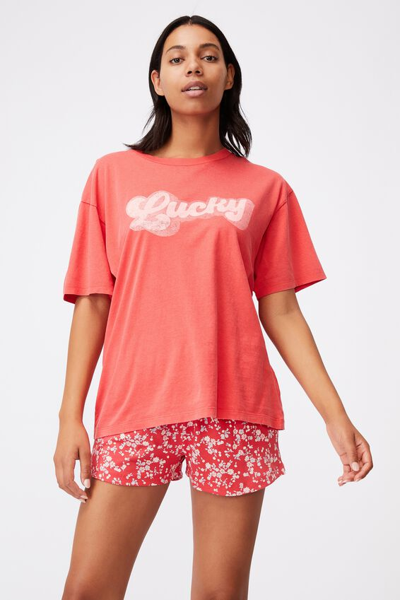 90S Bed T Shirt, LUCKY WASHED FIESTA RED