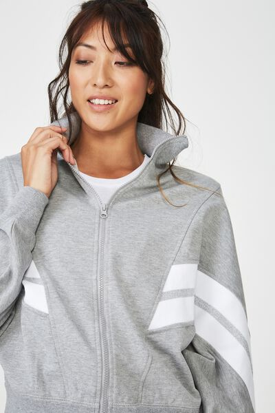 Batwing Zip Through, MID GREY MARLE / SILVER