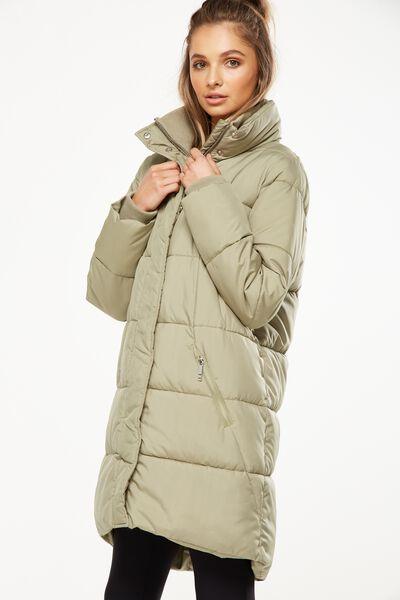 Long Puffer Jacket, HIKING GREEN
