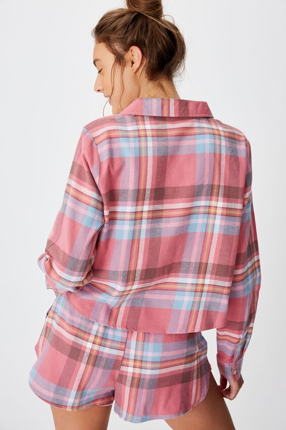 Flannel Sleep Shirt, WASHED ROSE CHECK