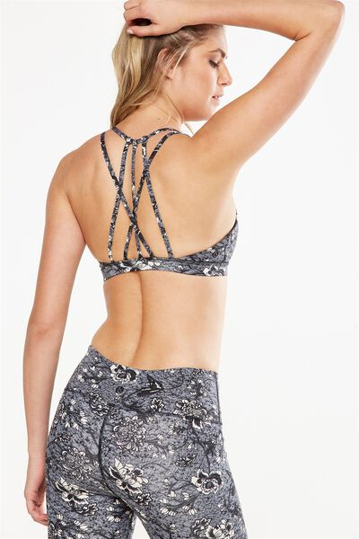 Recycled Strappy Sports Crop, IMPERIAL FLORAL BLACK
