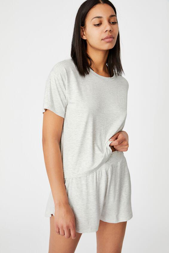 Sleep Recovery Crew T-Shirt, SOFT GREY MARLE
