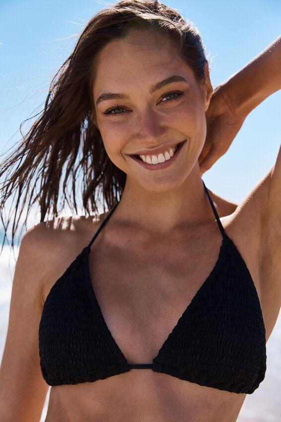 Classic Slider Triangle Bikini Top, BLACK SHIRRED
