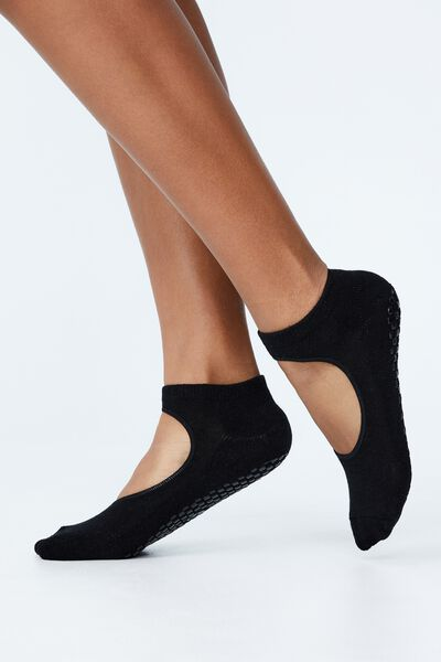 Plie Grip Studio Sock, BLACK