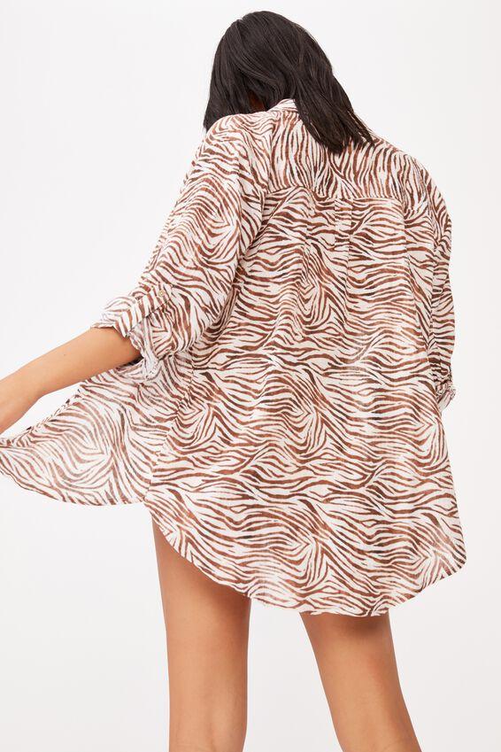 Oversized Beach Shirt, MOTLED ZEBRA