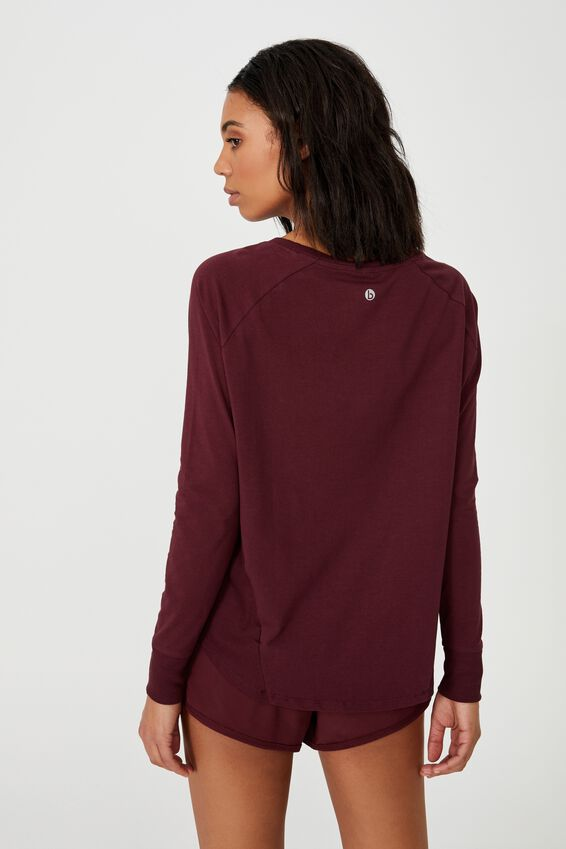 Active Rib Long Sleeve Top, MULBERRY
