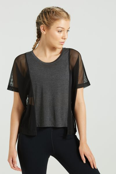 Mesh Cropped T Shirt, CHARCOAL MARLE/BLACK
